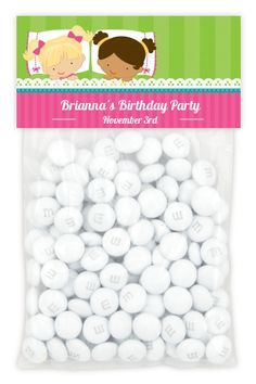 Image detail for -Slumber Party with Friends Birthday Party Favor Bag Toppers | Custom ...