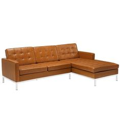 Modway Furniture Modern Loft Right-facing Leather Sectional Sofa EEI-252