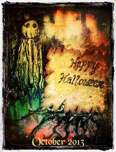 """""""Happy Halloween"""" (Mixed Media) - Artwork by Sara Raimondo ~"""