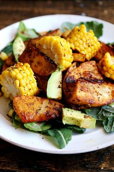 Green Salad with Roasted Corn and Potato Wedges (gf, vegan) - Food by Marry Anne