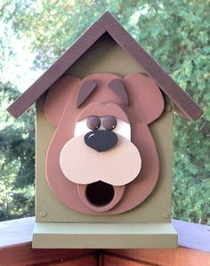 Handcrafted Brown Bear Birdhouse by Denisesdesigns2011 http://www.etsy.com/shop/Denisesdesigns2011 $30.00