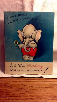 Vintage Elephant Birthday Sentimental Greeting Card