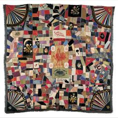 """Cleveland-Hendricks Crazy Quilt Artist unidentified ; initialed """"J.F.R."""" Location: United States Date: 1885–1890 Materials: Lithographed silk ribbons, silk, and wool with cotton fringe and silk and metallic embroidery Dimensions: 75 × 77"""""""