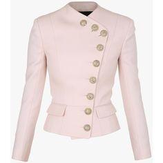 Grain de poudre wool jacket | Women's blazers | Balmain ($2,035) ❤ liked on Polyvore featuring outerwear, jackets, pink blazer jacket, wool jacket, wool blazer, pink wool jacket and balmain