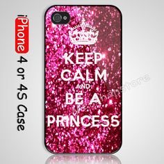 Sparkle Keep Calm and be a princess iPhone 4 or 4S Case Cover,cool iphone cases ,best iphone cases,girly iphone cases,iphone 4,case,cool phone cases,best iphone 4 case