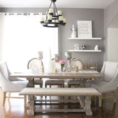"""""""#ZGallerieMoment: @monicsutter showcases our exclusive Archer Dining Table + Bench in her #CalmlyCollected dining room."""""""
