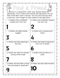 This is a great activity to do on the first day of school.
