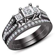 Straight Flush Three Stone Bridal Ring Set 1.82 Carat Princess Simulated Diamond #Aonedesigns