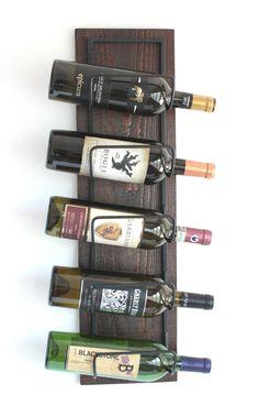 Wood Wall Wine Rack-Wall Mounted Wine Rack-Wood Wine Racks-Rustic Wine Rack Holds 5 Bottles by AdliteCreations on Etsy https://www.etsy.com/listing/212191623/wood-wall-wine-rack-wall-mounted-wine