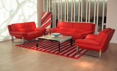 Charming Red Sofas for Gorgeous Living Room: Awesome Low Red Sofas With Stripped Carpet