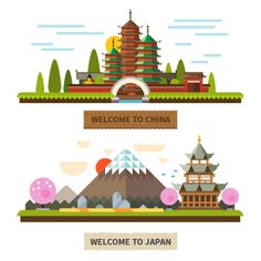 Hello Asia :) Colorful illustration of #Japan & #China made by Beresnev.