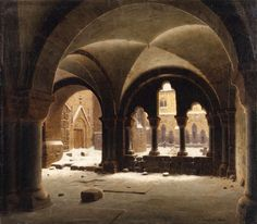 View of a cloister in winter ,1848 by Carl Hasenpflug