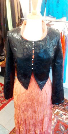 soft- apricot viscose crinkle dress with  embossed eco-leather jacket an artsy combo for every occasion -- at Ms. Emma's ,Toronto