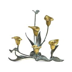 Vintage Brass Calla Lily Candle Holder Set: Unique three-piece candelabra set in solid brass, patinated. Available from OneRustyNail on Etsy. ► http://www.etsy.com/shop/OneRustyNail