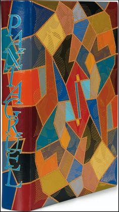 Spectacular geometric, multi-colour, leather binding [1961 by Pierre-Lucien Martin] of François Rabelais' 16th century scatalogical satire, 'Gargantua & Pantagruel'