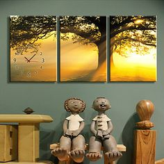 Modern Style High Class Sunset Clock in Canvas 3pcs – USD $ 59.99