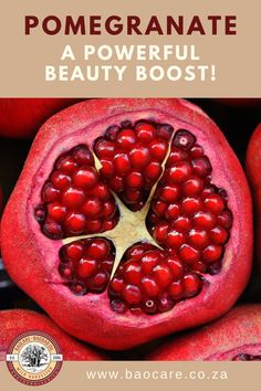 Pomegranate oil is a fantastic defence against aging, minimising wrinkles through stimulating collagen production as well as reducing collagen breakdown.  The polyphenols – antioxidants – in pomegranate oil are also known to protect against and repair UV damage, as well as promote the growth of new, firmer skin so helping to produce a more youthful looking skin.  A pure, natural powerful beauty boost!  #baocare #baocareskincare #baobaboil #pomegranate #naturalskincare #antiaging… Pomegranate Benefits, Pomegranate Oil, Pomegranate Recipes, Pcos, Granada, Cruelty Free Shop, Kombucha Recipe, Reduce Gas, Cool Stuff