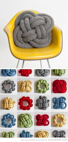 Knotted pillows - sew and stuff tubes, then knot away! Perhaps use the scrap fabric from the curtains...