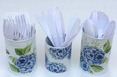 Decoupage tin cans blue hydrangeas and by foreverdecoupage on Etsy
