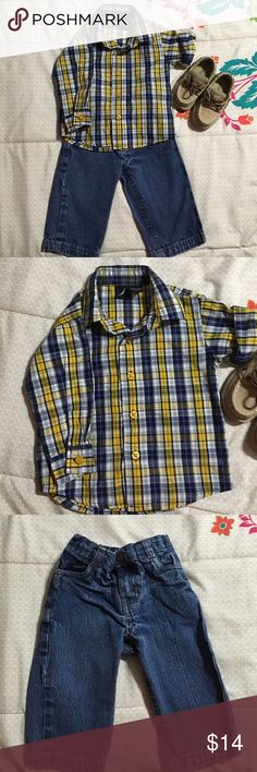 Infant Nautica outfit 12m Selling Nautica shirt along with blue jeans 👖 12m boys Nautica Matching Sets
