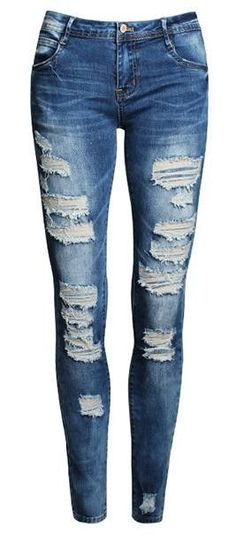 Ripped Beggar Road Straight Elastic Slim Denims.  Check out even more at the image link