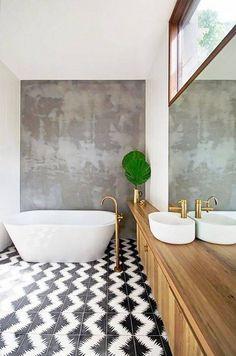 minimalist bathroom black and white floor tiles