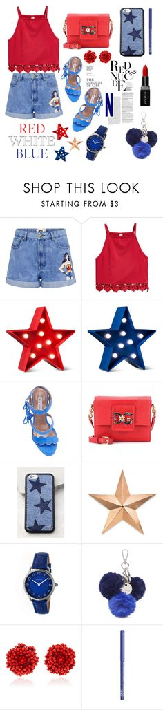 """Red, White, & Blue: Celebrate the 4th!"" by fluffy-bunny4 ❤ liked on Polyvore featuring Paul & Joe Sister, POPTIMISM!, Tabitha Simmons, Dolce&Gabbana, Wildflower, Thos. Baker, Bertha, Nine West, Bibi Marini and NYX"