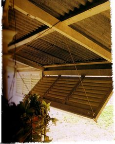 I forgot about this until now. *This* is a great way to use shutters in the verandah to get extra sun protection. When they're not in use they just look nice folded up Outdoor Shutters, Diy Shutters, Outdoor Blinds, Outdoor Rooms, Outdoor Living, Rv Living, Gazebo On Deck, Diy Pergola, Patio Fence