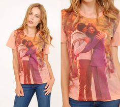 Vintage 70s LOVERS T-Shirt PHOTOGRAPH Shirt Printed t-shirt by LotusvintageNY #70s #lovers #couple #1970s #graphictshirt #printedshirt #novelty #etsy #vintagetshirt
