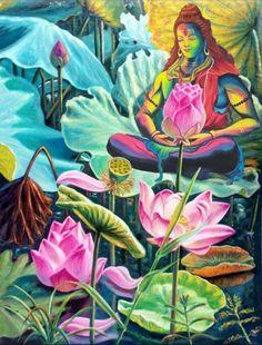Lord Shiva as adiyogi on lotus in creative art painting Lotus Artwork, Lotus Painting, Plant Painting, Diy Painting, Painting & Drawing, Pichwai Paintings, Watercolor Paintings, Lotus Kunst, Lotus Flower Art