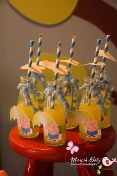 Peppa Pig birthday party drinks!  See more party planning ideas at CatchMyParty.com!