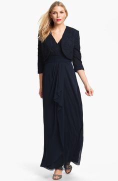 $117 T10P Patra Matte Lace Chiffon Gown Bolero in Blue (navy)