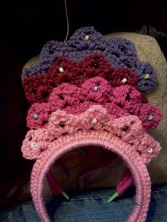 My daughter wanted me to crochet a tiara, then a friend wanted it for favors at her daughter's birthday party and this is what I came up with!  Custom orders, large quantities if needed.  $4.00 each.  (Discount given for 15 or more.)