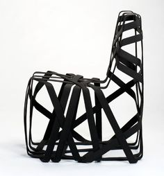 seat belt chair made of re-purposed polymer stiffened belts