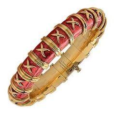 Tiffany & Co. Schlumberger Enamel Gold Bangle Bracelet