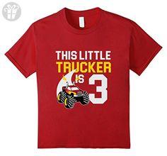 Kids 3rd Birthday Girls Monster Truck T-Shirt Cool 3 Year Old 12 Cranberry - Birthday shirts (*Amazon Partner-Link)