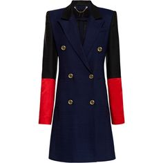 Harbison Color-Block Linen Weave Officer's Coat ($1,500) ❤ liked on Polyvore featuring outerwear, coats, color block coat, blue double breasted coat, colorblock coat, blue coat and double-breasted coat