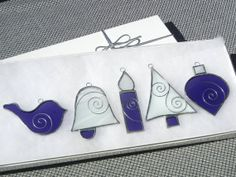 Purple & White Swirl Stained Glass Ornament Christmas Gift Set