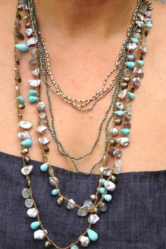 """""""layered necklace"""" trend for Spring 2015. LOVE LOVE LOVE!! """"layered charms & necklaces tell a story. piling on personal talismans and different colored metals in various lengths gives people a perception of who you are & how you feel"""" All pieces shown by: Lena Skadegard"""