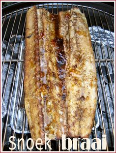 Snoek Braai (BBQ).  Snoek is the local name for a species of pike that inhabits the waters around the South African coast.  The flesh is firm and succulent,   Delicious cooked on hot coals or smoked.