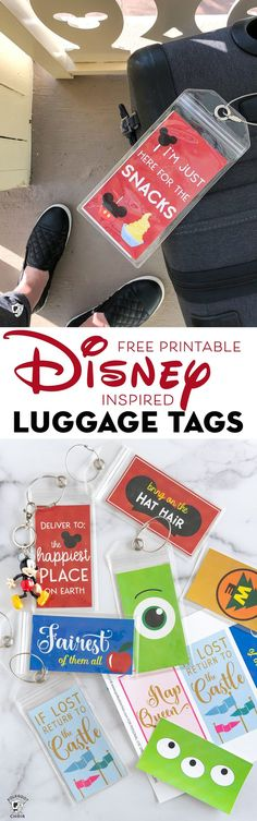 Free printable luggage tags perfect for Disney vacation. Cute Disney luggage tags #Disney #freeprintable #polkadotchair