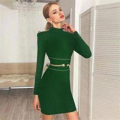 2019 New Bandage Dresses Sexy Long Sleeve Sexy Mini Club Vestidos Evening Party  Dress Women Autumn Winter Clothing faac8eb740f5