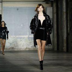 @ysl ss17 Freja Beha Freja Beha Erichsen, Pvc Raincoat, Ysl, Saint Laurent, Goth, Leather Jacket, Silhouette, Instagram Posts, Model
