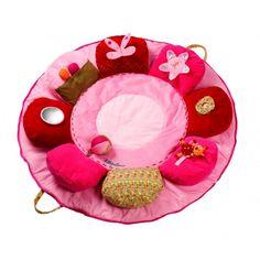 rose manta de actividades: Esta alfombra-flor para dormir, jugar y explorar presenta una amplia gama de actividades con elementos sonoros de múltiples texturas y con contornos muy variados: es ideal para despertar todos los sentidos del bebé.
