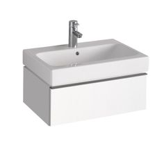 TWYFORD  3D 595 VANITY UNIT 2 DRAWER, ALPINE WHITE  The 3D range of bathroom furniture in Plum or Alpine White high gloss finish are supplied pre-assembled for easy installation. Units are internally segmented for easier storage and come with soft closing drawers as standard.