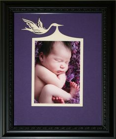 Personalized new baby and stork picture frame $70 on Etsy