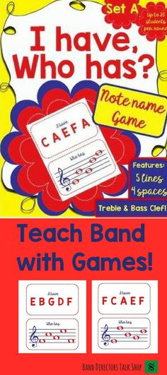 "$4 ""I Have, Who Has"" note name band game! Visit ""Band Directors Talk Shop"" on Teachers Pay Teachers for band lesson plans, band games, band activities, beginning band ideas, band bulletin board sets, rhythm games, note name games, music word walls, practice reports, rehearsal techniques, woodwind, brass and percussion instrument care, band teaching strategies, motivational quotes and more!"