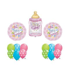 buy now at webmallforyou.com  It's a Girl Baby Shower Bottle Pink Hearts Dots Balloon Party Supply Bouquet