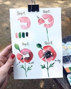 Learn to draw poppies, four-step instructions, paint with watercolor, flower painting for beginners Watercolour Tutorials, Watercolor Techniques, Watercolour Painting, Painting Techniques, Watercolor Flowers, Painting & Drawing, Drawing Flowers, Painting Flowers, Watercolor Beginner