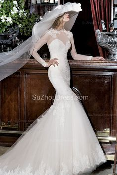 White Long Sleeve Lace Wedding Dresses 2015 Bateau Mermaid Bridal Gowns